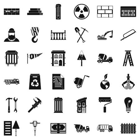 radioactive sign: Building work icons set, simple style Illustration