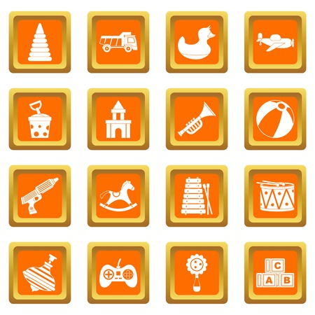 Different kids toys icons set orange
