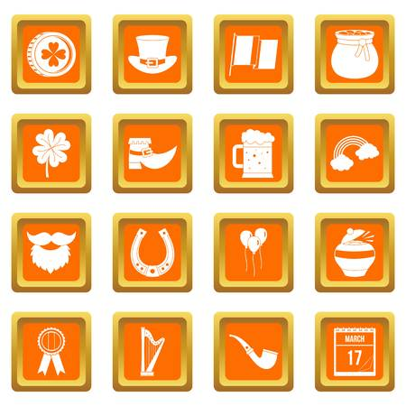 saint: Saint Patrick icons set orange