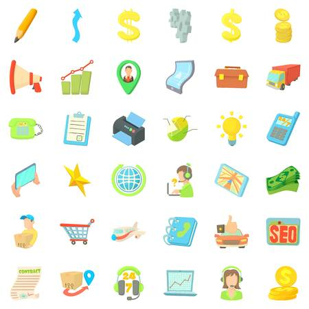 Good business icons set, cartoon style
