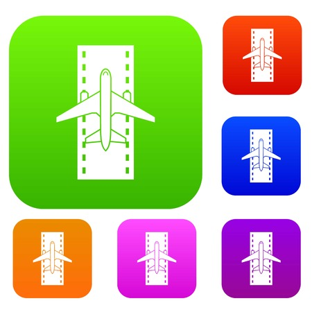 Airplane on the runway set collection Illustration