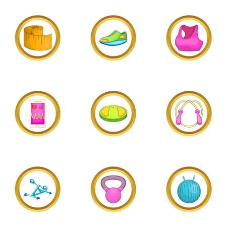 meditation man: Gym icons set, cartoon style