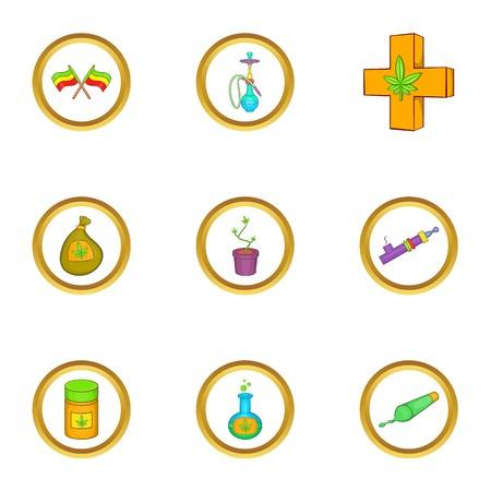 peace pipe: Marijuana smoking icon set, cartoon style