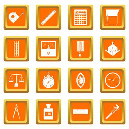depth measurement: Measure precision icons set orange
