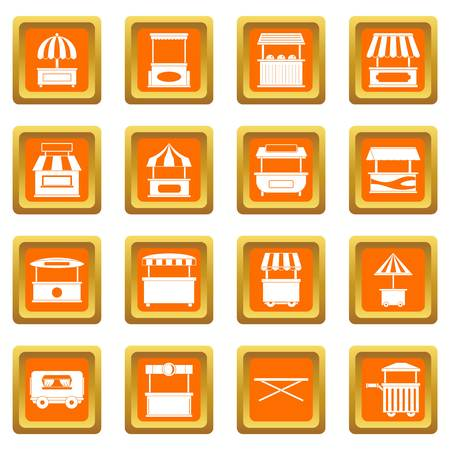Street food truck icons set orange Illustration