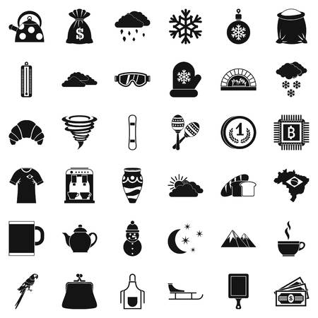 hard rain: Hard coffee icons set, simple style Illustration