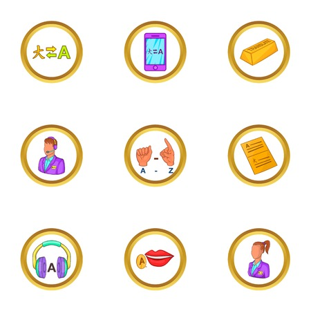 polyglot: Translate icons set, cartoon style Illustration