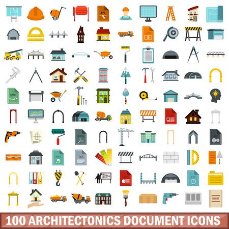100 建築ドキュメント アイコン セット、フラット スタイル