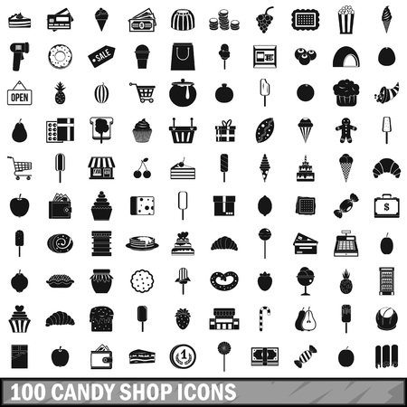 100 candy shop icons set, simple style