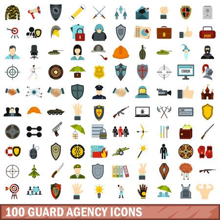 100 guard agency icons set, flat style Illustration