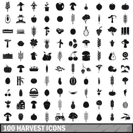 berry: 100 harvest icons set, simple style