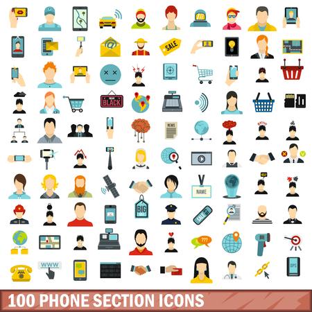 100 phone section icons set, flat style