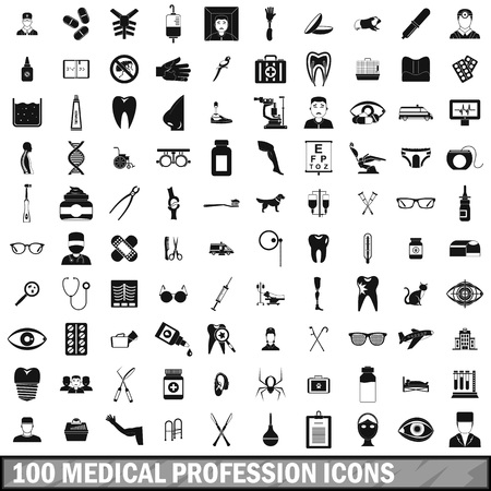 100 medical profession icons set, simple style Çizim