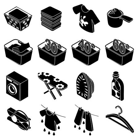 hangers: Laundry icons set, simple isometric style Illustration