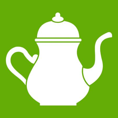middle eastern food: Traditional Turkish teapot icon green