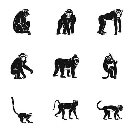 Monkey icon set, simple style Illustration