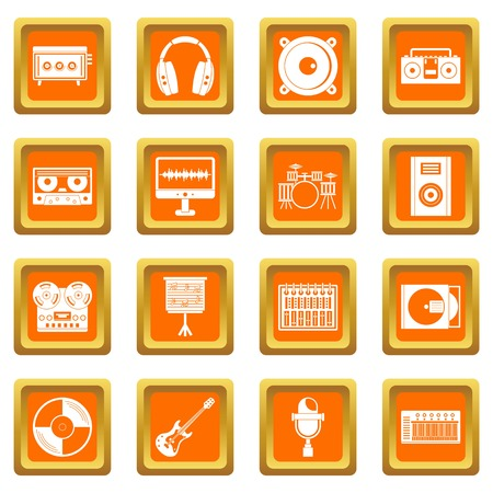 Le icone degli elementi dello studio di registrazione sono impostate in arancione Archivio Fotografico - 84255422