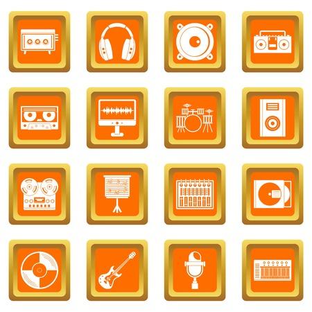 Recording studio items icons set orange Illustration