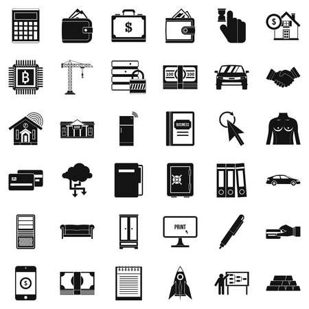 Neem een credit pictogrammen set, eenvoudige stijl