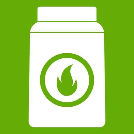 matchbox: Matchbox icon white isolated on green background. Vector illustration