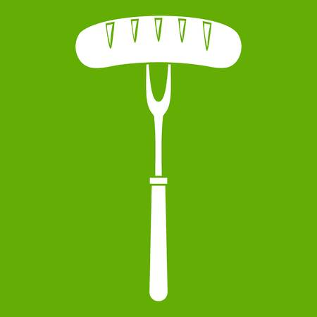 Sausage on bbq fork icon white isolated on green background. Vector illustration