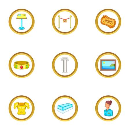 Museum icons set. Cartoon illustration of 9 museum vector icons for web design Illustration