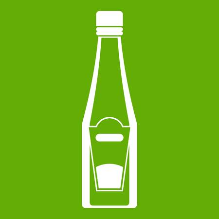 Bottle of ketchup icon white isolated on green background. Vector illustration