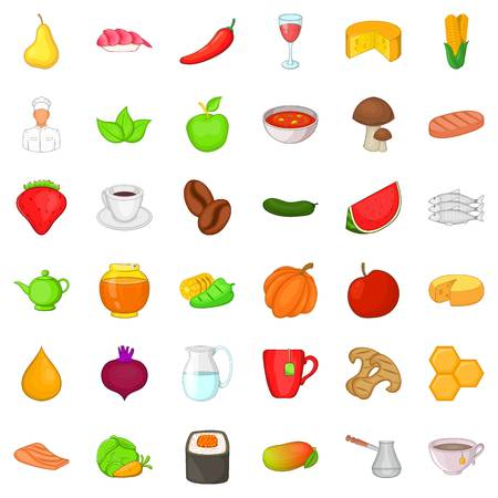 Dietary food icons set. Cartoon style of 36 dietary food vector icons for web isolated on white background