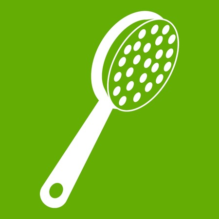 rasp: Pumice icon white isolated on green background. Vector illustration