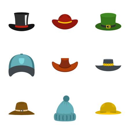 Hat icon set. Flat set of 9 hat vector icons for web isolated on white background Illustration