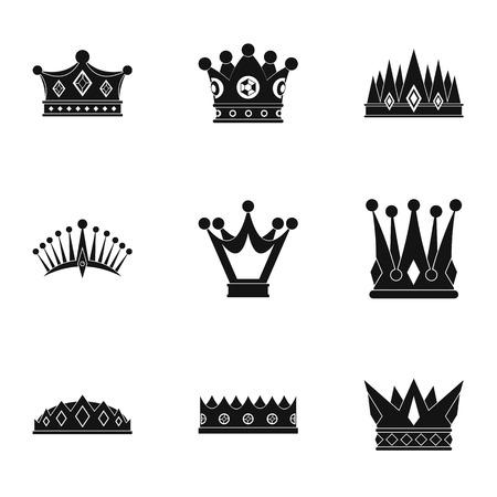 王冠のアイコンを設定します。単純な web は、白い背景で隔離の 9 冠ベクトルのアイコンのセット