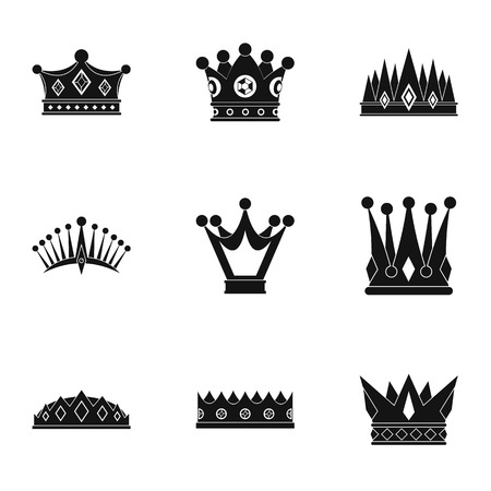 Crown icon set. Simple set of 9 crown vector icons for web isolated on white background