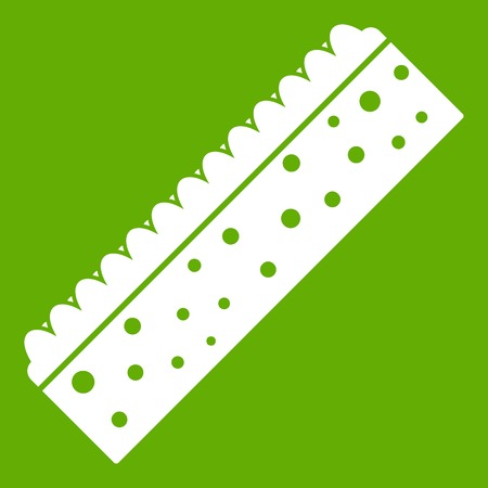 kitchen cleaning: Sponge for cleaning icon white isolated on green background. Vector illustration