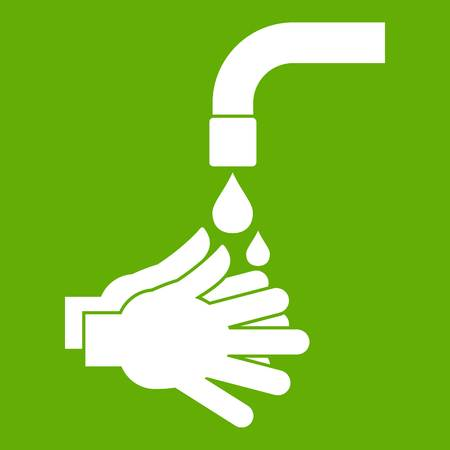 Cleaning hands icon white isolated on green background. Vector illustration Illustration