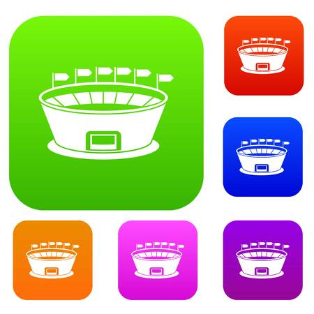 real tennis: Stadium set icon in different colors isolated vector illustration. Premium collection Illustration