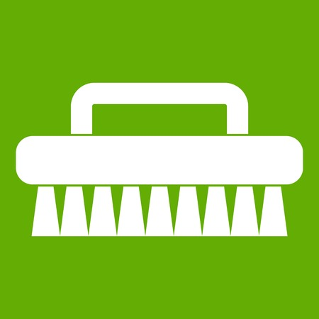 Cleaning brush icon white isolated on green background. Vector illustration