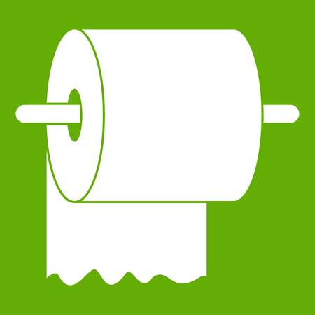 Roll of toilet paper on holder icon white isolated on green background. Vector illustration Illustration