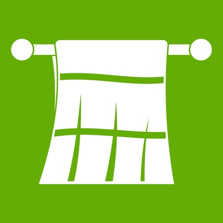 hangers: Towel on a hanger icon white isolated on green background. Vector illustration Illustration