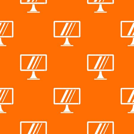 Computer monitor pattern repeat seamless in orange color for any design. Vector geometric illustration