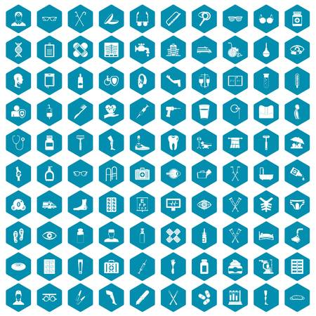 eyepiece: 100 disabled healthcare icons set in sapphirine hexagon isolated vector illustration