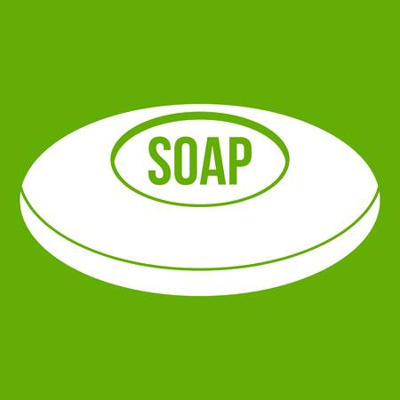 Soap icon white isolated on green background. Vector illustration