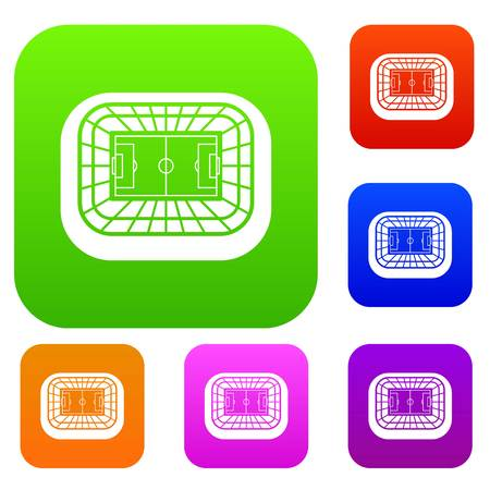 real tennis: Stadium top view set icon in different colors isolated vector illustration. Premium collection