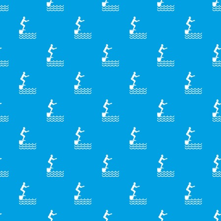 Man standing on springboard pattern seamless blue