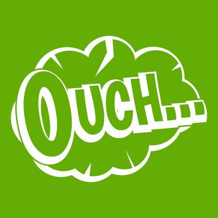 Ouch, speech cloud icon white isolated on green background. Vector illustration