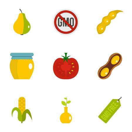 modification: GMO free icon set. Flat set of 9 GMO free vector icons for web isolated on white background Illustration