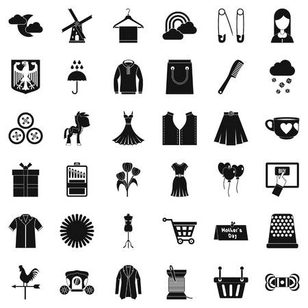 hangers: Fashion dress icons set. Simple style of 36 fashion dress vector icons for web isolated on white background