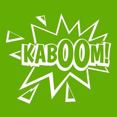 Kaboom, explosion icon white isolated on green background. Vector illustration Illustration