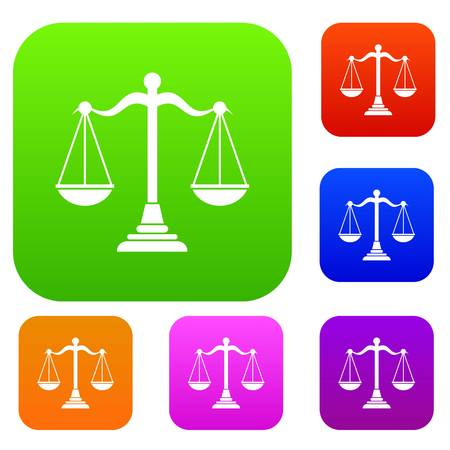 scale of justice: Balance scale set collection Illustration