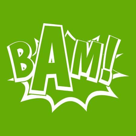 BAM, comic book bubble icon green