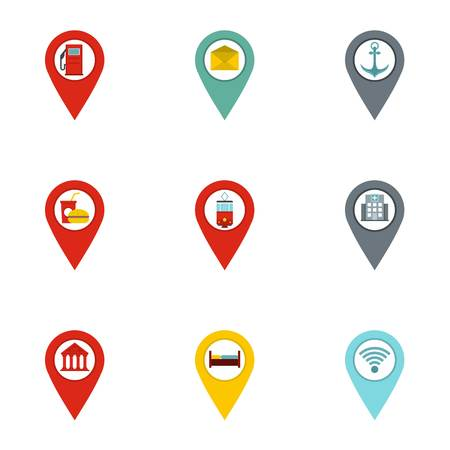 Map pins icon set. Flat set of 9 map pins vector icons for web isolated on white background